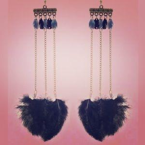Dark blue art deco feather earrings